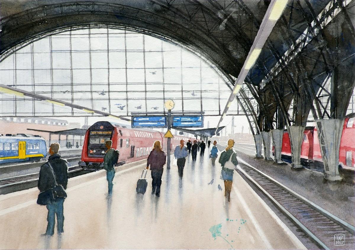 Hauptbahnhof - Aquarell 38x54 cm