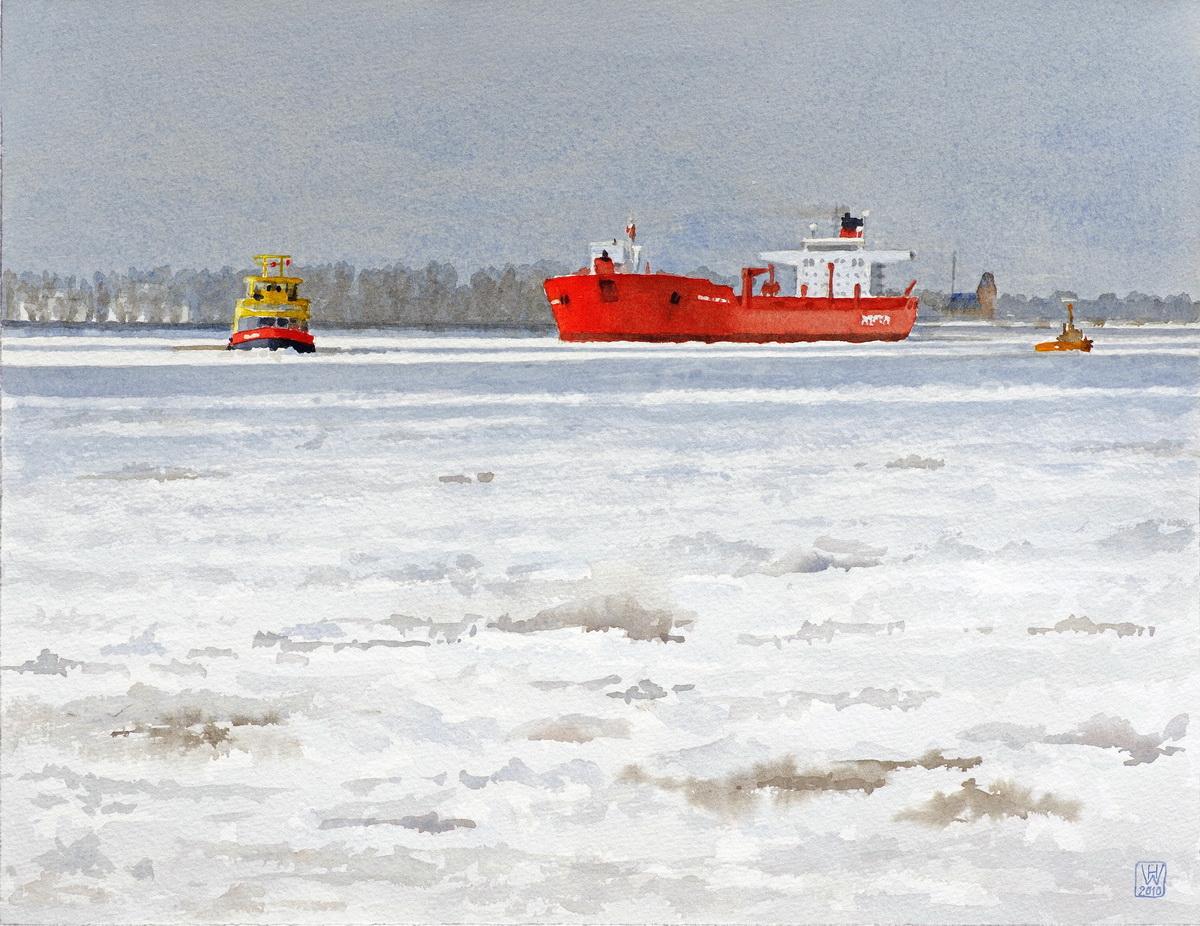Roter Tanker auf vereister Elbe bei Hamburg - Aquarell  33x43 cm