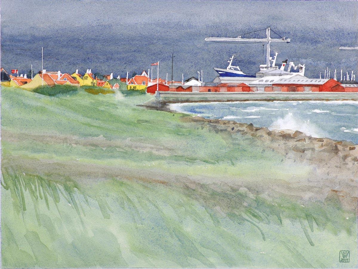 Stürmischer Tag, Skagen (Dänemark) - Aquarell  33x44 cm
