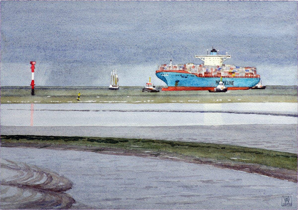 Einlaufen ELLY MAERSK in Bremerhaven - Aquarell  27x38,5 cm