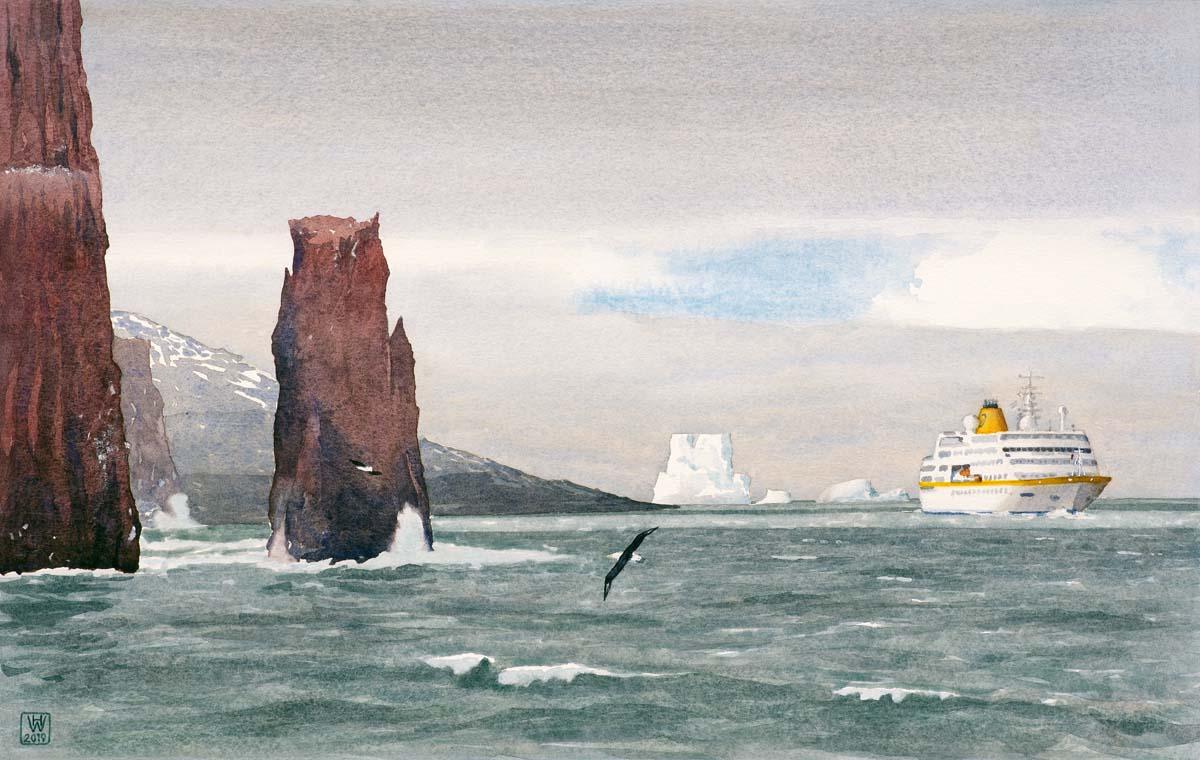 MS HAMBURG steuert Deception Island (Antarktis) an  -  Aquarell 35x56 cm