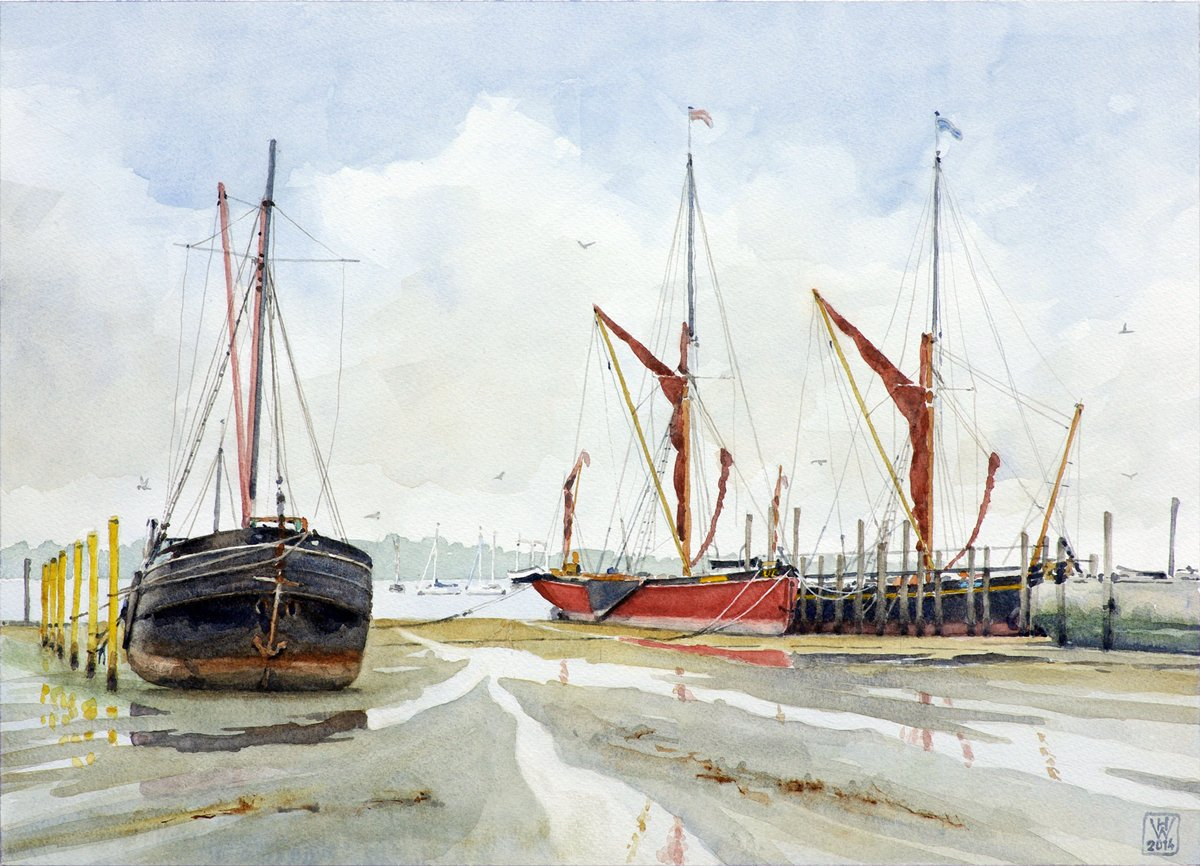 Sailing Barges I, Pin Mill, Suffolk (England) - Aquarell 32x44 cm  NFS