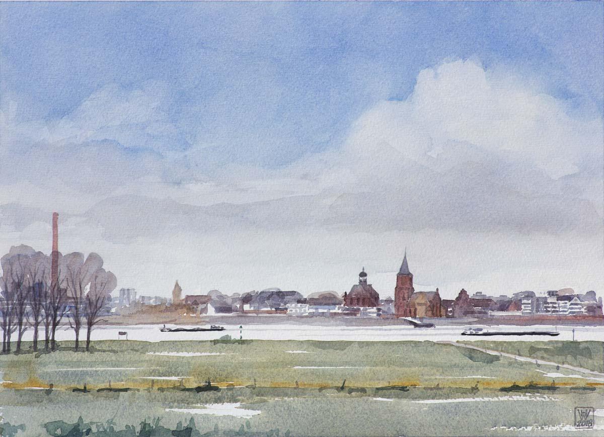 Ansicht von Emmerich am Niederrhein - Aquarell  32x44cm
