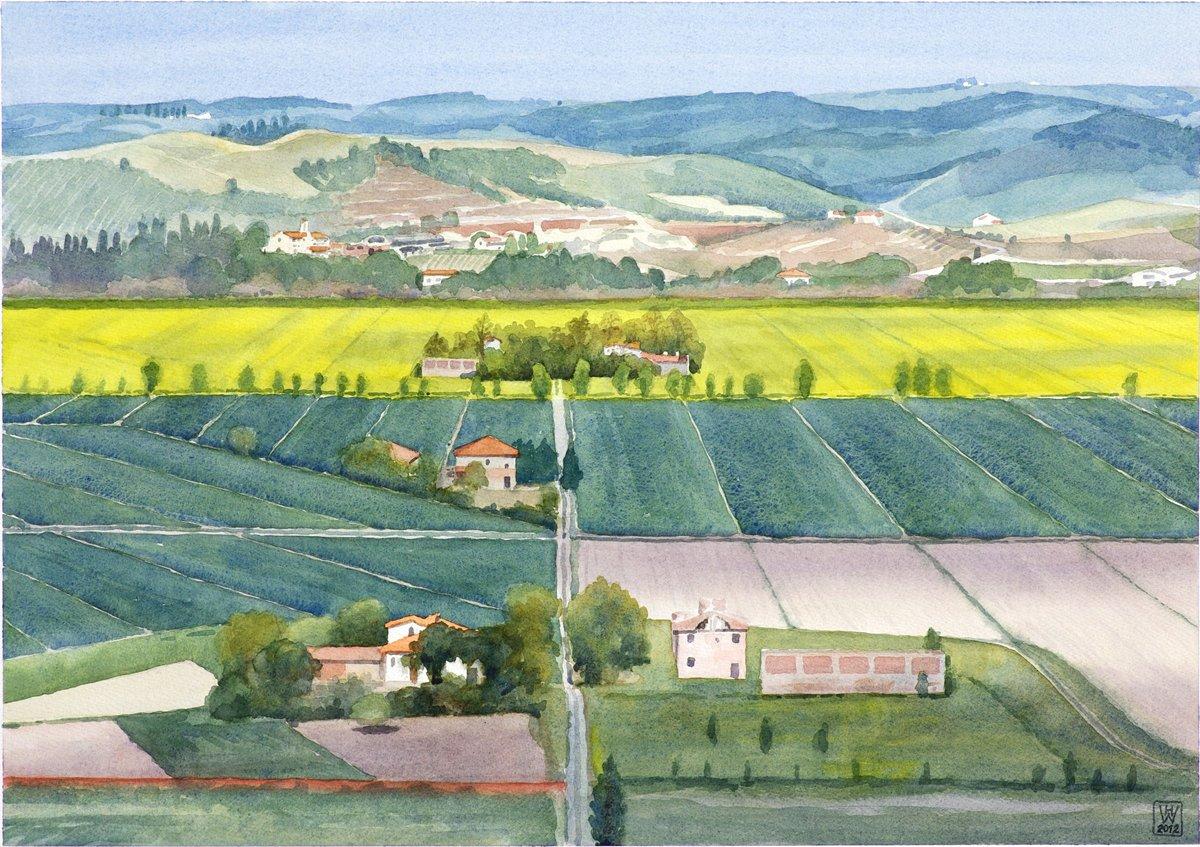 Toskana, Val d'Elsa - Aquarell  44x62 cm