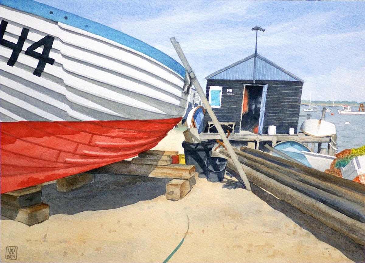 Harbourmaster's Hut, Felixstowe Ferry, Suffolk (England) - Aquarell  32x44 cm