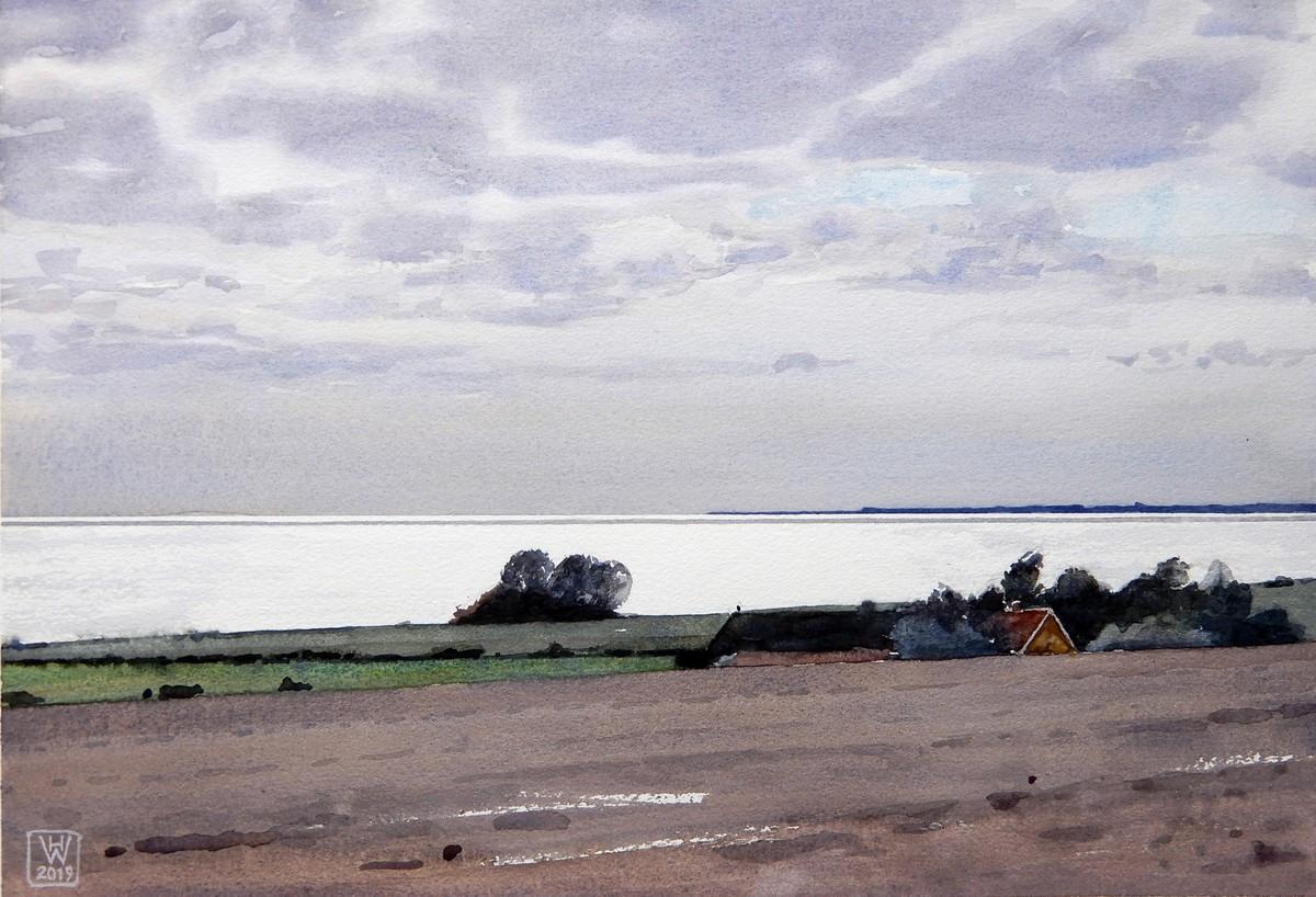 Meerblick bei Kraneled, Insel Møn (Dänemark) - Aquarell  26x38 cm