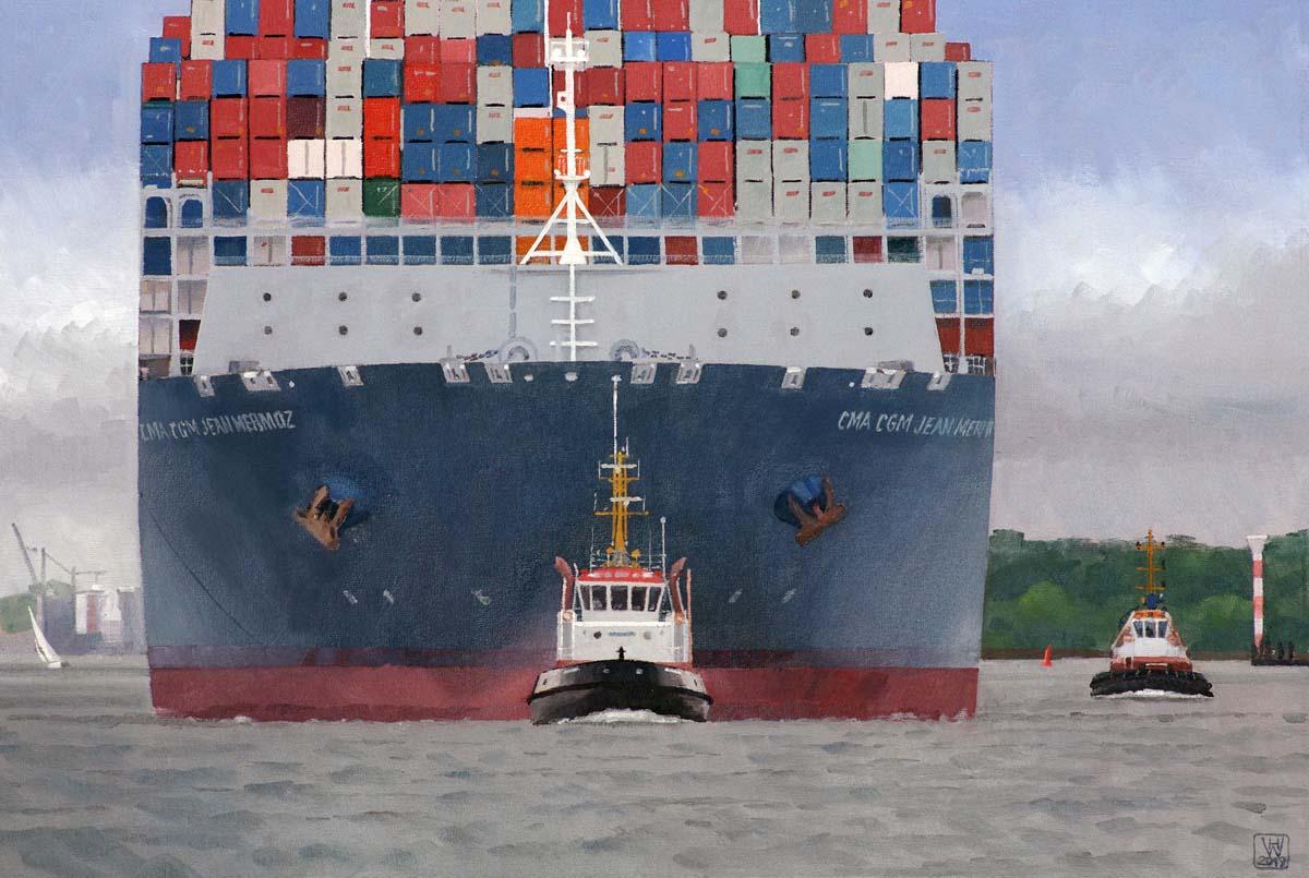 Containerschiff am Haken, Hamburg  -  Öl auf Malplatte  36x54 cm