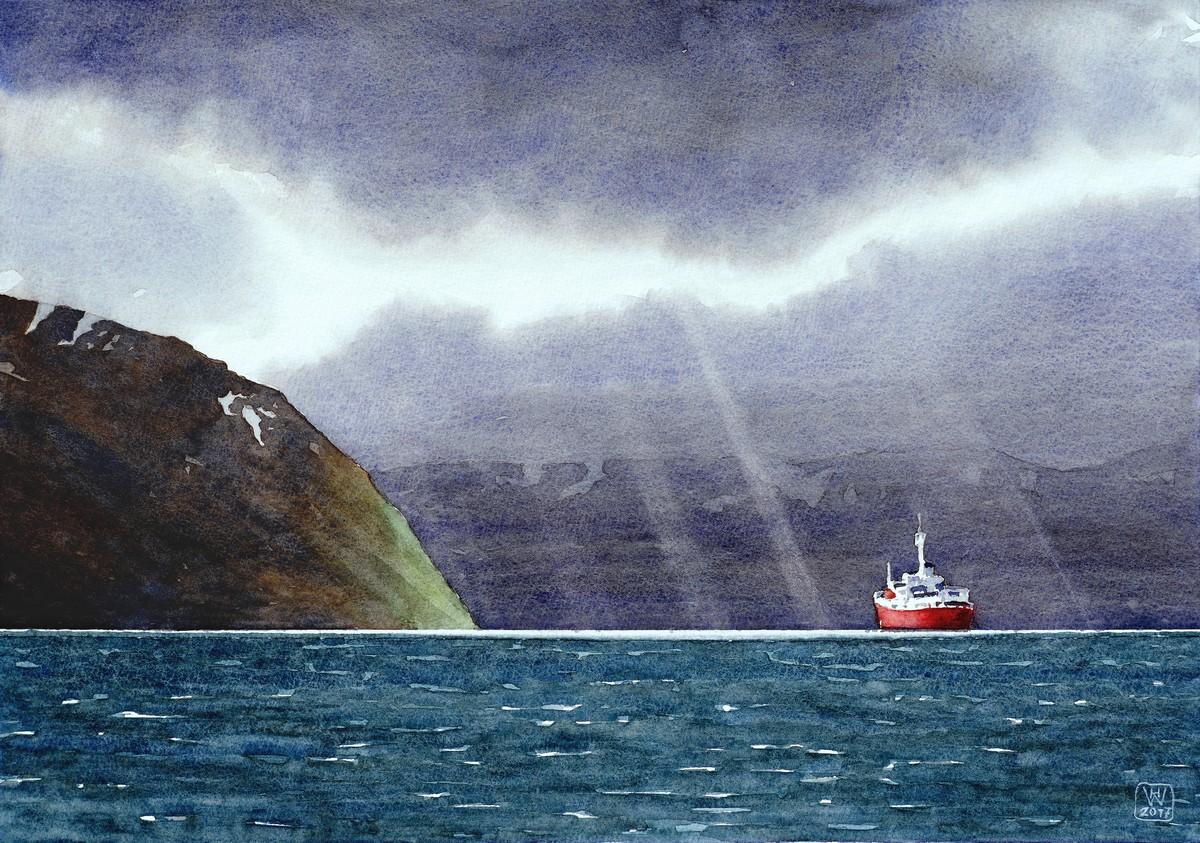 Licht des Nordens (Landschaft bei Øksfjord, Nordnorwegen) - Aquarell  35x50 cm  (überarbeitet)