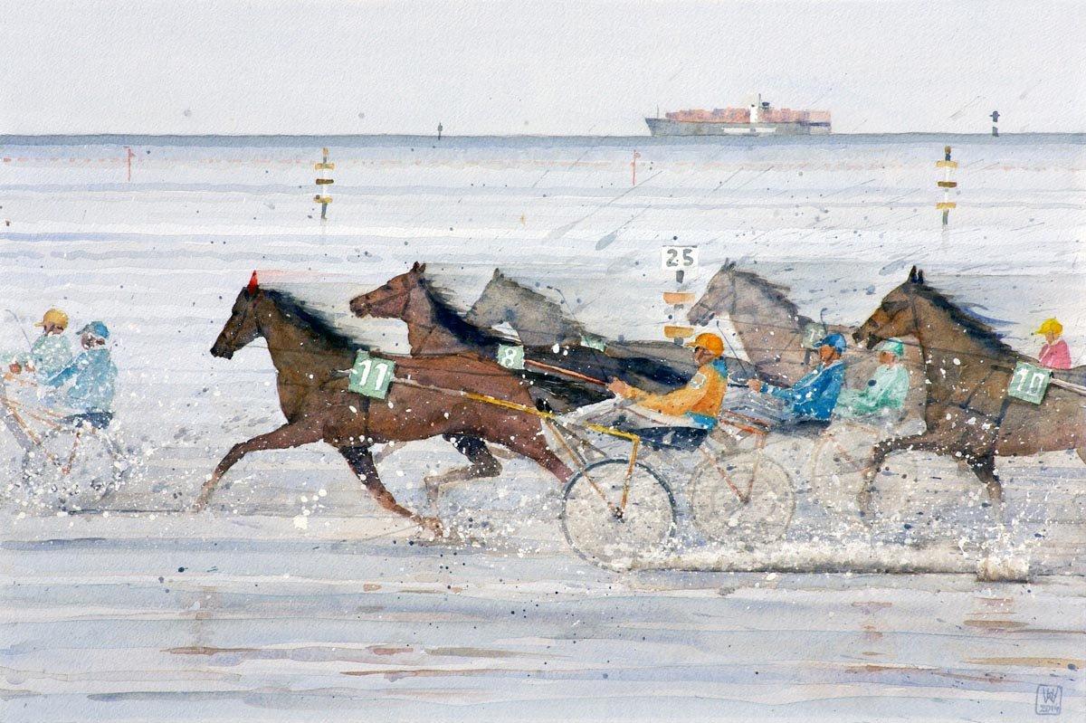 Wattrennen, Cuxhaven-Duhnen - Aquarell 43x65 cm