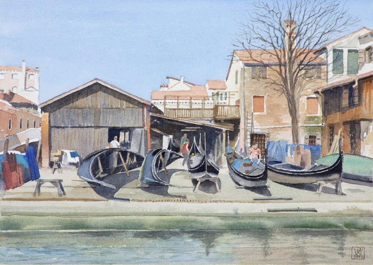 Gondelwerft II, San Trovaso/Venedig - Aquarell  27x38 cm