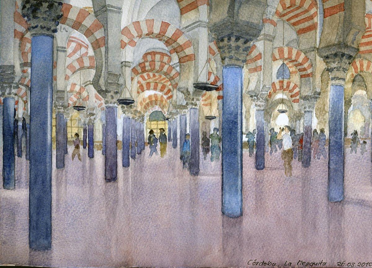 La Mezquita, Cordoba, Andalusien - Aus dem Andalusien-Aquarellbuch  23,5x30,5 cm  NFS