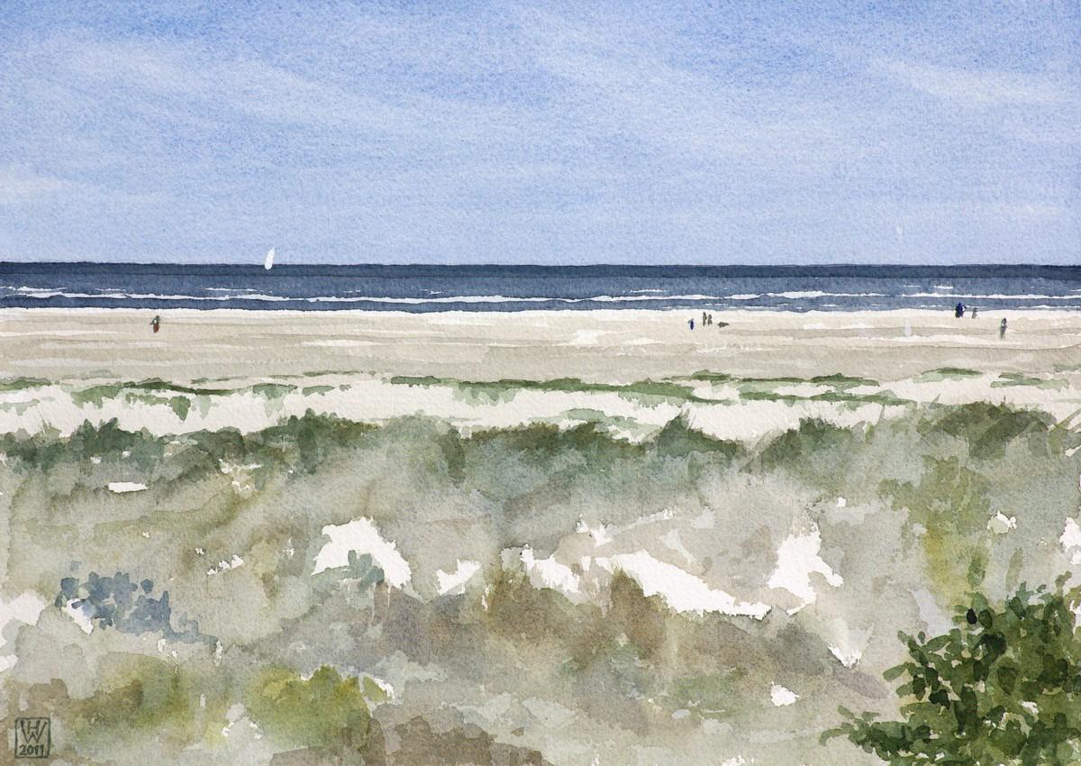Insel Borkum, Norddünen - Aquarell  27x38 cm