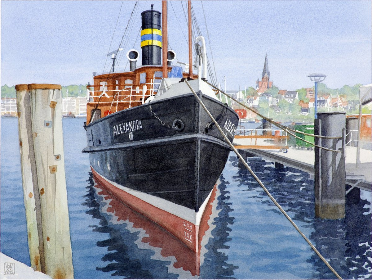 Salondampfer ALEXANDRA in Flensburg - Aquarell  33x43 cm