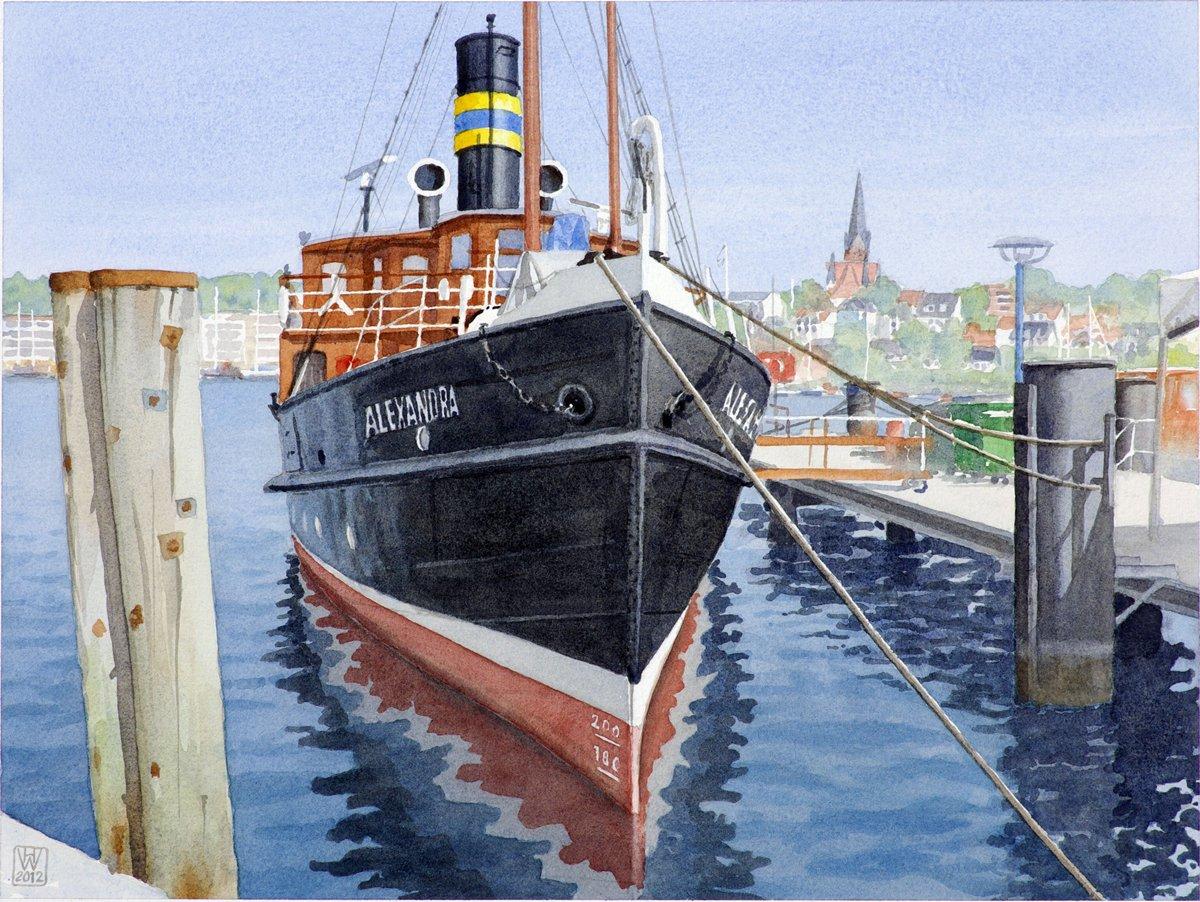 Salondampfer ALEXANDRA in Flensburg - Aquarell  33x43 cm