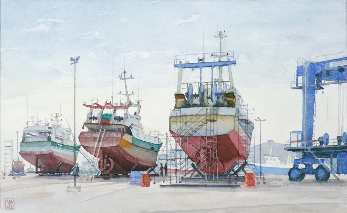 Fischtrawler in der Werft, Le Guilvinec, Bretagne - Aquarell 28 x 46 cm  NFS