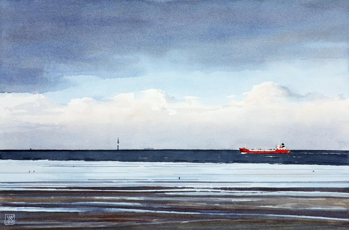 Cuxhaven: Watt, Wasser, Wolken - Aquarell 29x44 cm