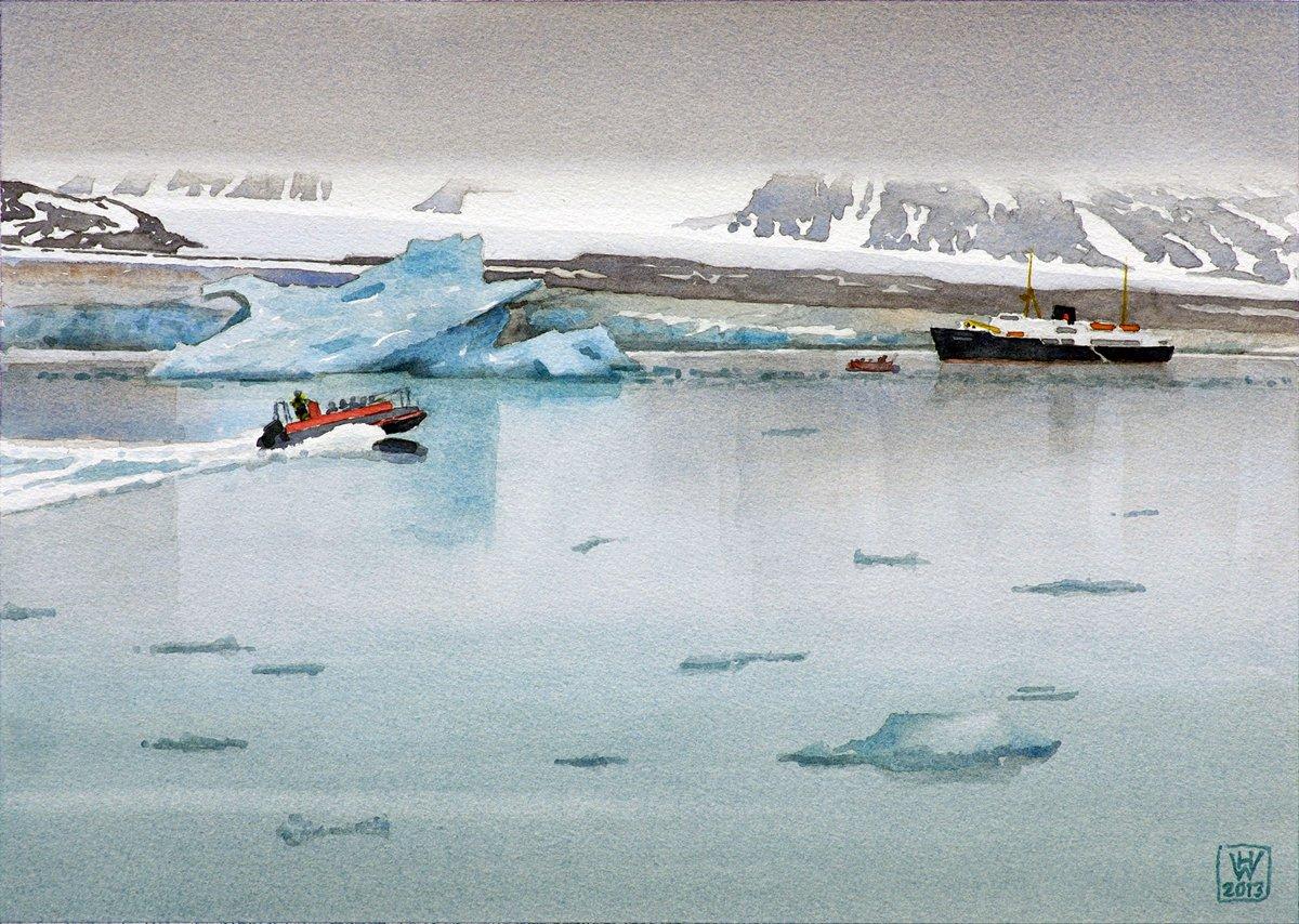 Spitzbergen (Norwegen), Tourismus am Lilliehöök-Gletscher - Aquarell 27,5x38 cm