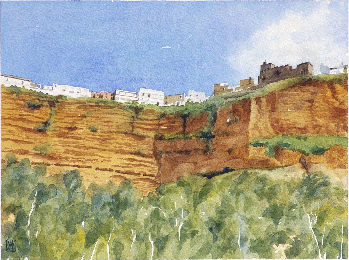 Arcos de la Frontera, Andalusien - Aquarell 32x43 cm