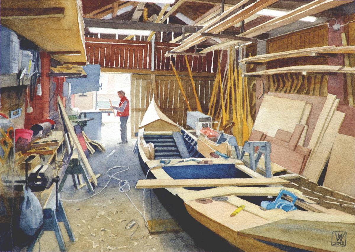 Gondelwerft I, San Trovaso/Venedig - Aquarell 27x38 cm  NFS - Veröffentlicht in CLASSIC BOAT Dez. 2012 und L'ART DE l'AQUARELLE  Sept. 2019