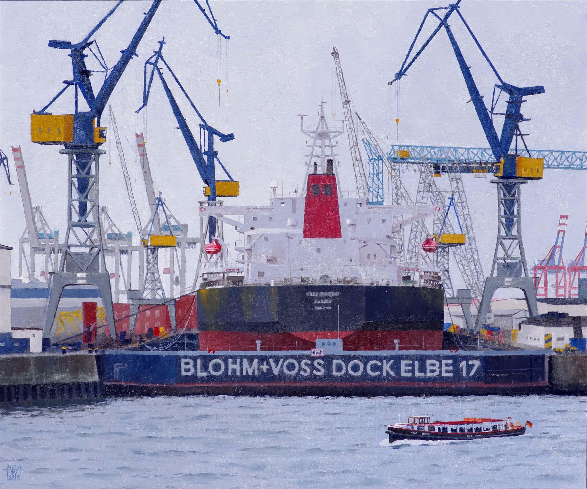 Hamburg, Blohm & Voss Dock Elbe 17  -  Öl auf Malplatte  51x61 cm