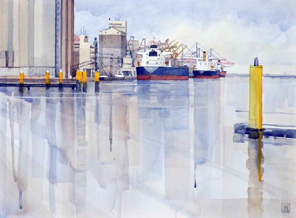 Massengutumschlag, Hafen Brake/Unterweser - Aquarell 33x44 cm
