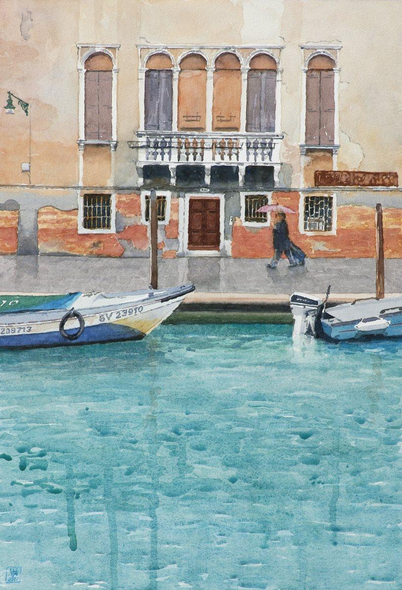 Regen, Canale di Cannarégio/Venedig - Aquarell  50x32 cm