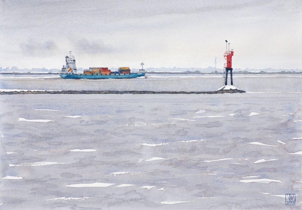 Winterliche Elbe bei Glückstadt - Aquarell  25,5x36,5 cm