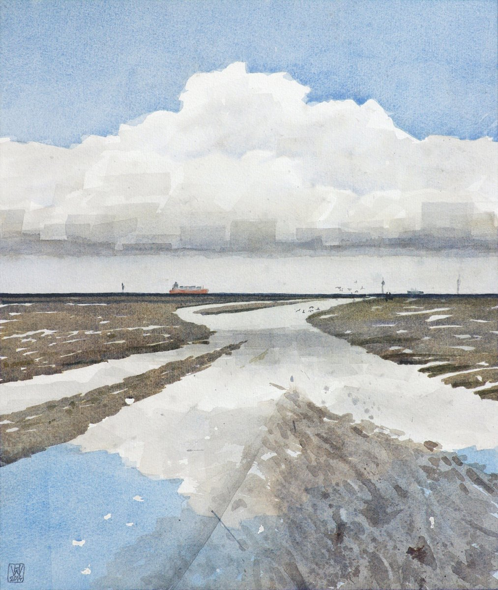 Watt, Cuxhaven-Duhnen - Aquarell  44x37 cm
