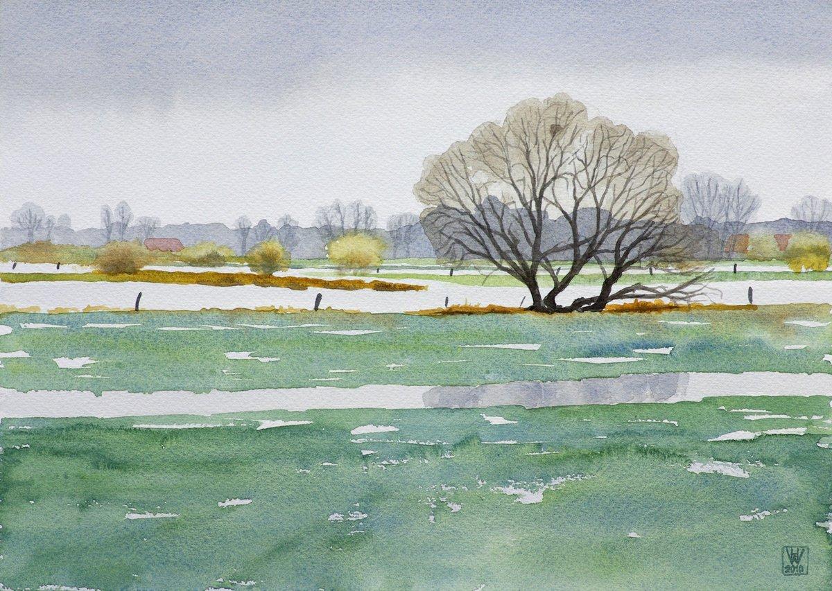 Borgfelder Wümmewiesen, Bremen - Aquarell  25,5x35,5 cm