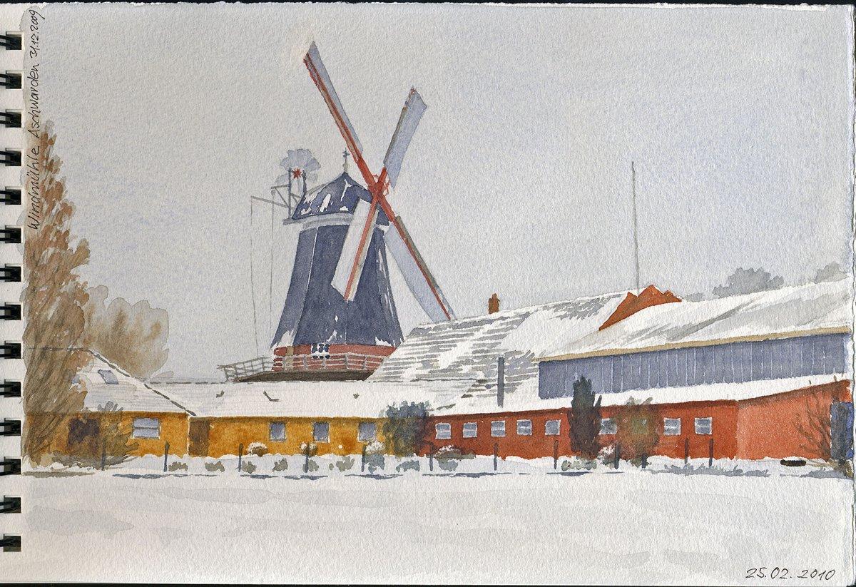 Windmühle Schwanewede-Aschwarden, Niedersachsen - Aus Aquarellbuch  19x28 cm  NFS