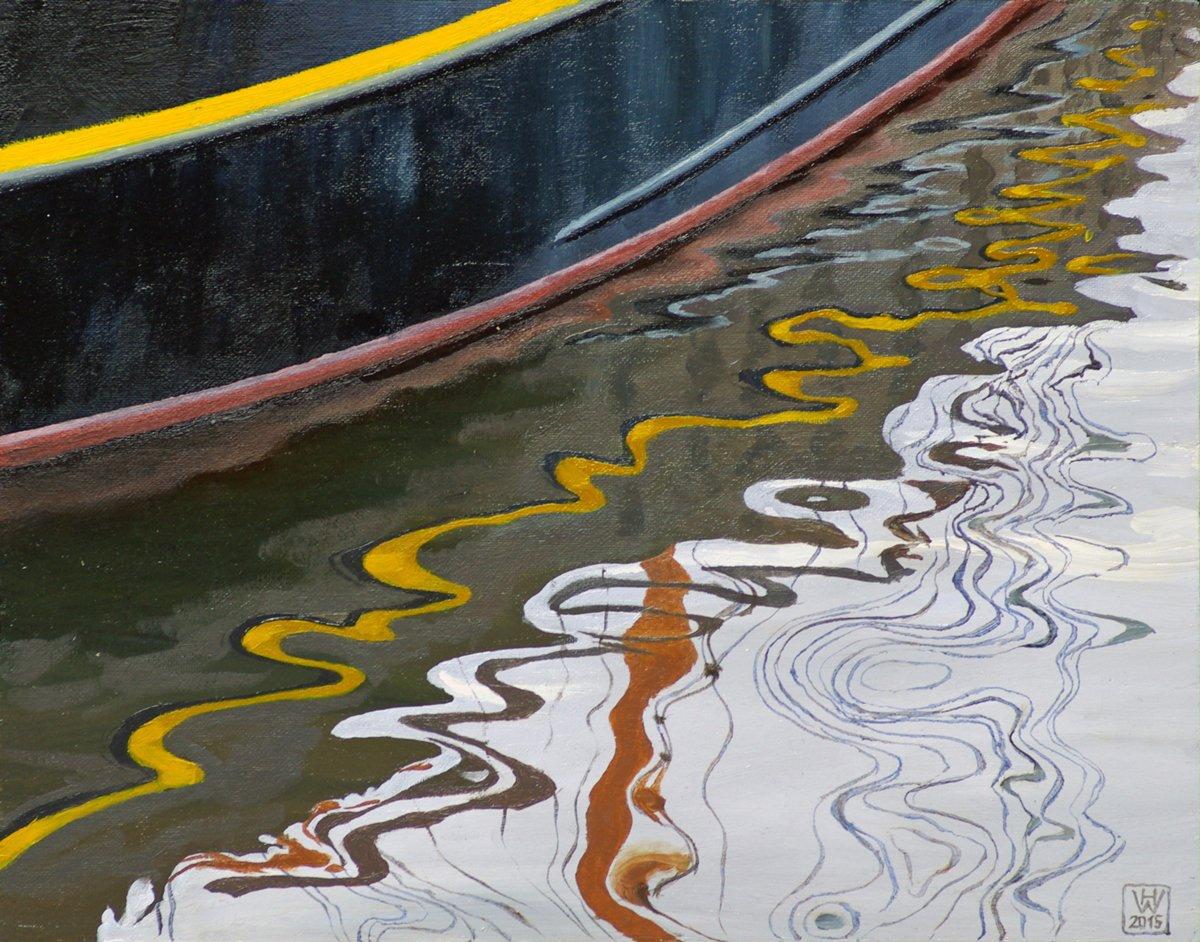 Spiegelung Kutter RUNGHOLT, Bremerhaven - Öl auf Malplatte  24x30 cm