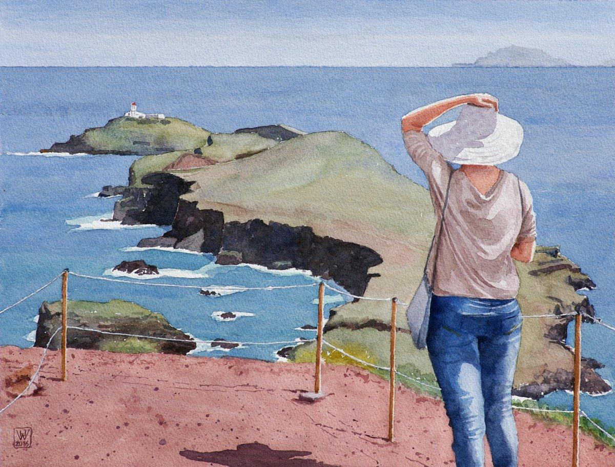 Es ist windig auf Madeira - Aquarell  31,5x41,5 cm