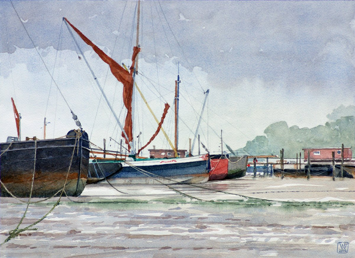 Regentag, Pin Mill, Suffolk (England) - Aquarell 32x44 cm