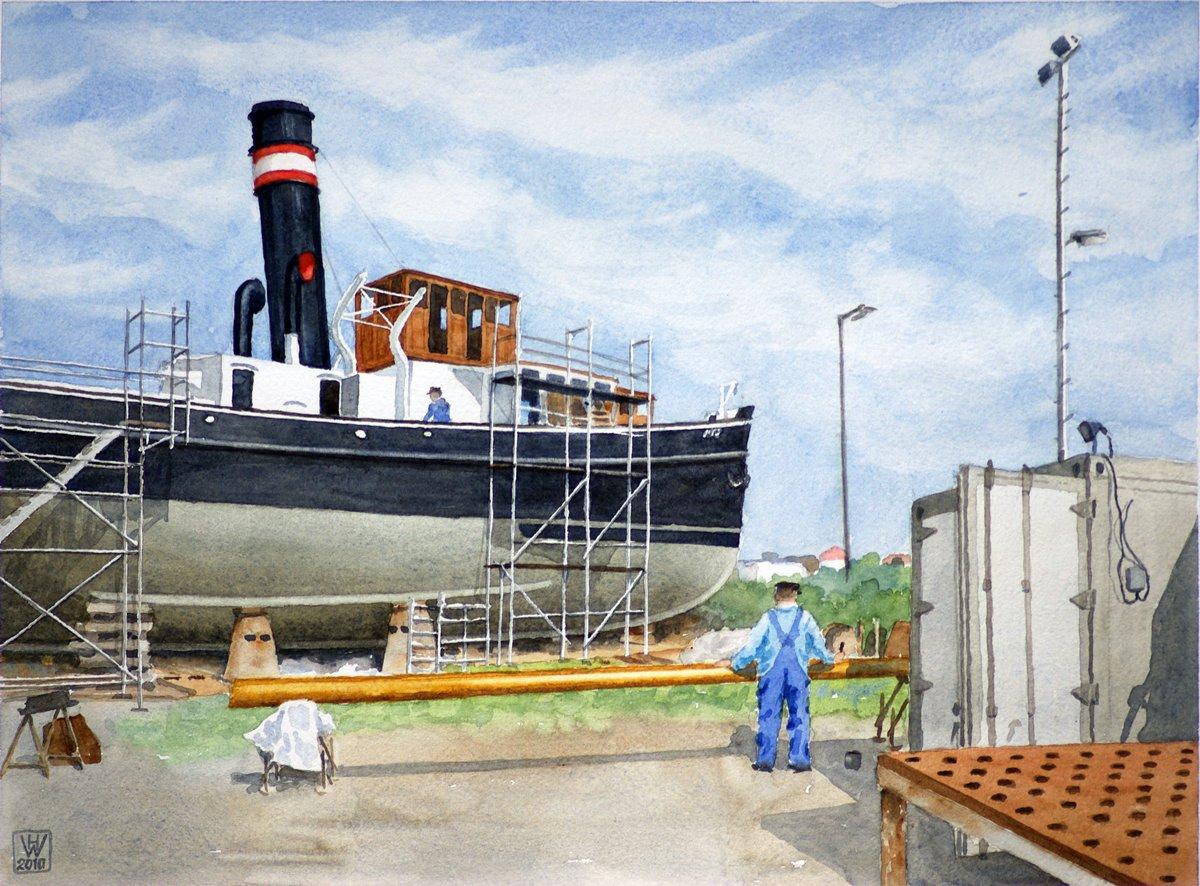 Restaurierung Dampfer WELLE, Bremerhaven - Aquarell  28x38 cm