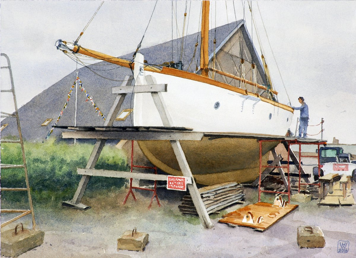 Bootsrestaurierung, Saint-Vaast-la-Hougue, Normandie - Aquarell  32x44 cm