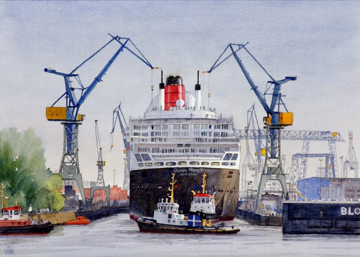 """Eindocken """"Queen Mary 2"""" bei Blohm & Voss, Hamburg  -  Aquarell  33x46 cm"""