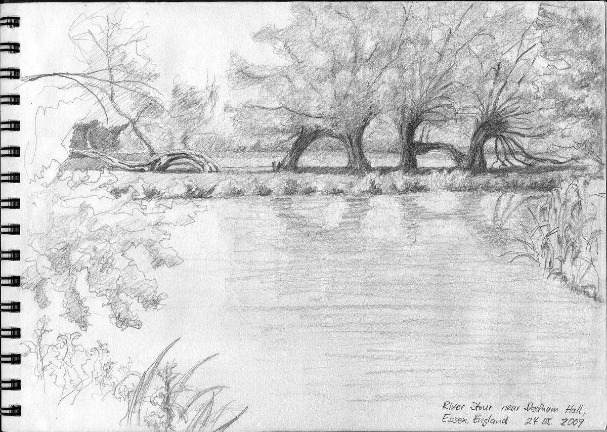 Weiden am Fluss Stour, Essex (England)  - Aus Skizzenbuch  21x28,5 cm  NFS