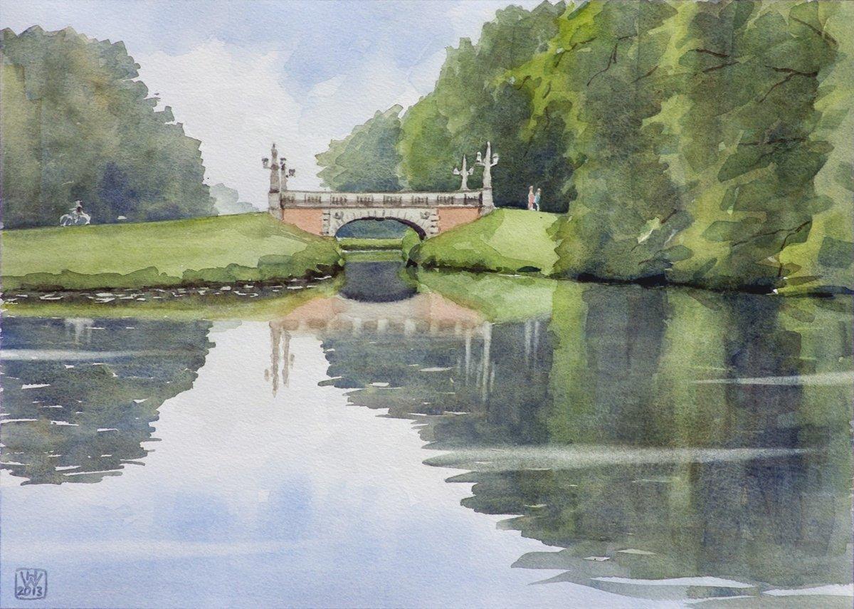 Melchers-Brücke, Bremer Bürgerpark - Aquarell 27x38 cm  NFS