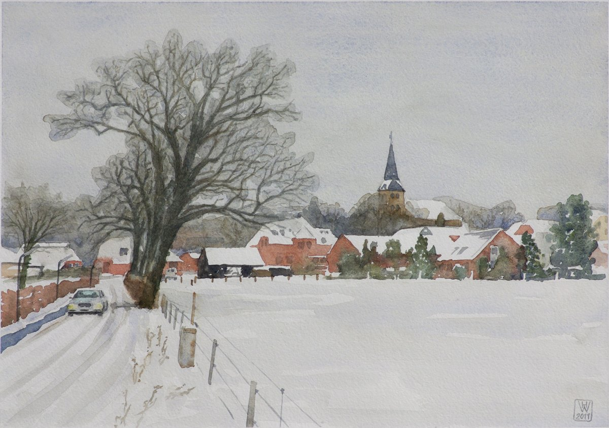 An der Lesumer Kirche, Bremen-Lesum - Aquarell  27x38 cm NFS