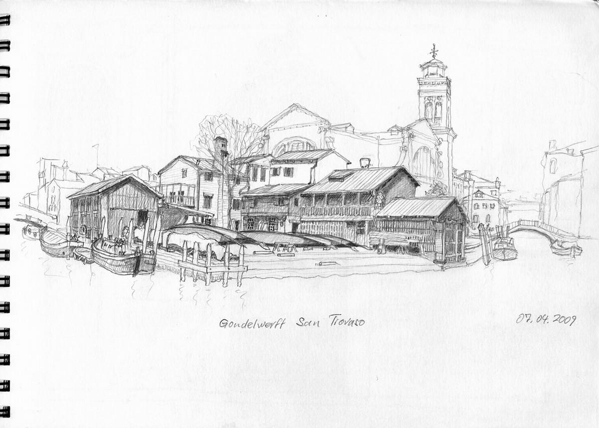 Squero di San Trovaso (Gondelwerft), Venedig - Aus Skizzenbuch  21x28,5 cm  NFS