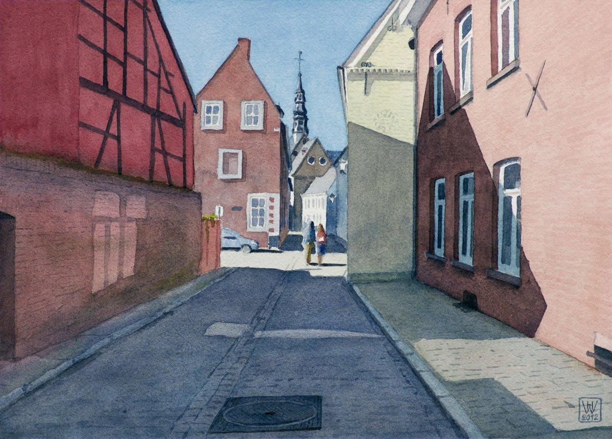 Tongeren (Belgien), Altstadt - Aquarell 27x38 cm  NFS