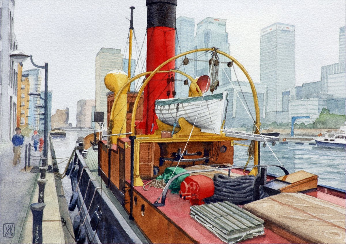 Dampfschlepper PORTWAY, Docklands, London - Aquarell  27x38 cm