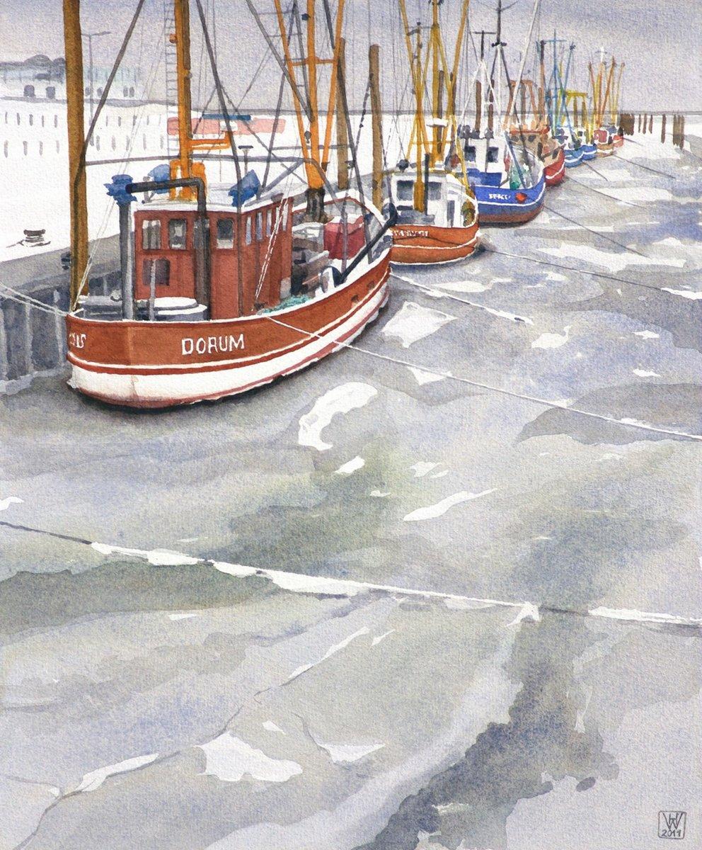 Krabbenkutter im Eis, Dorumer Neufeld/Unterweser - Aquarell  44x36 cm  NFS