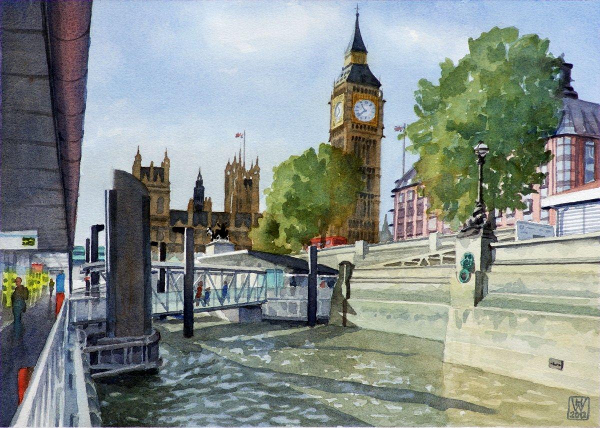 London, Houses of Parliament - Aquarell 27x38 cm  NFS