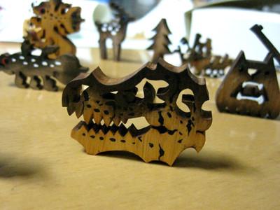 MY WOOD MONSTER MATCH BOX #9. ティラノサウルス ガイコツ ヘッド