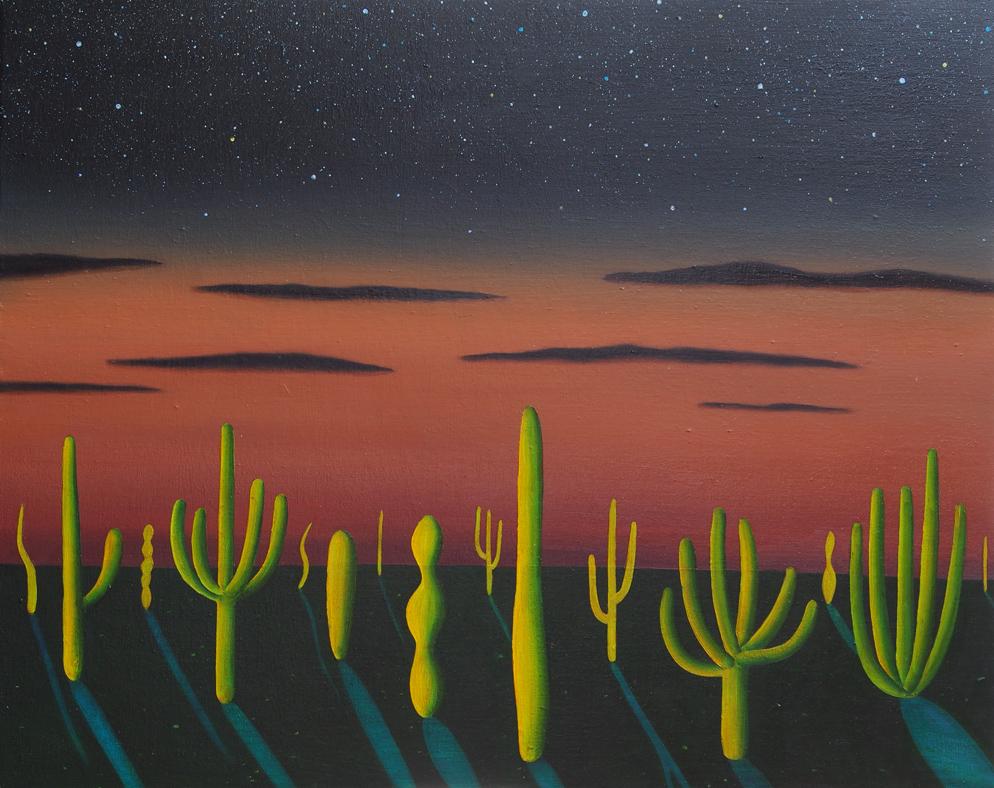 サボテンのある地平線 / a Horizon with cactus,  油絵 / Oil Painting,  2018