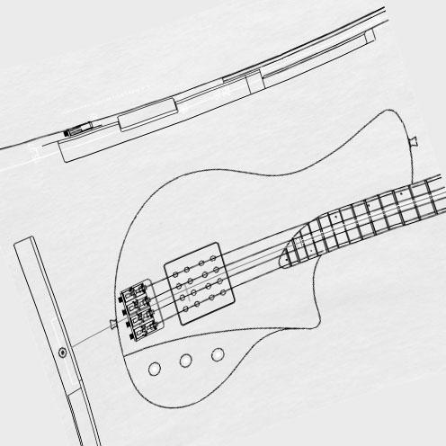 bassguitar design by ulrich - double humbucker bass 4 string drawing