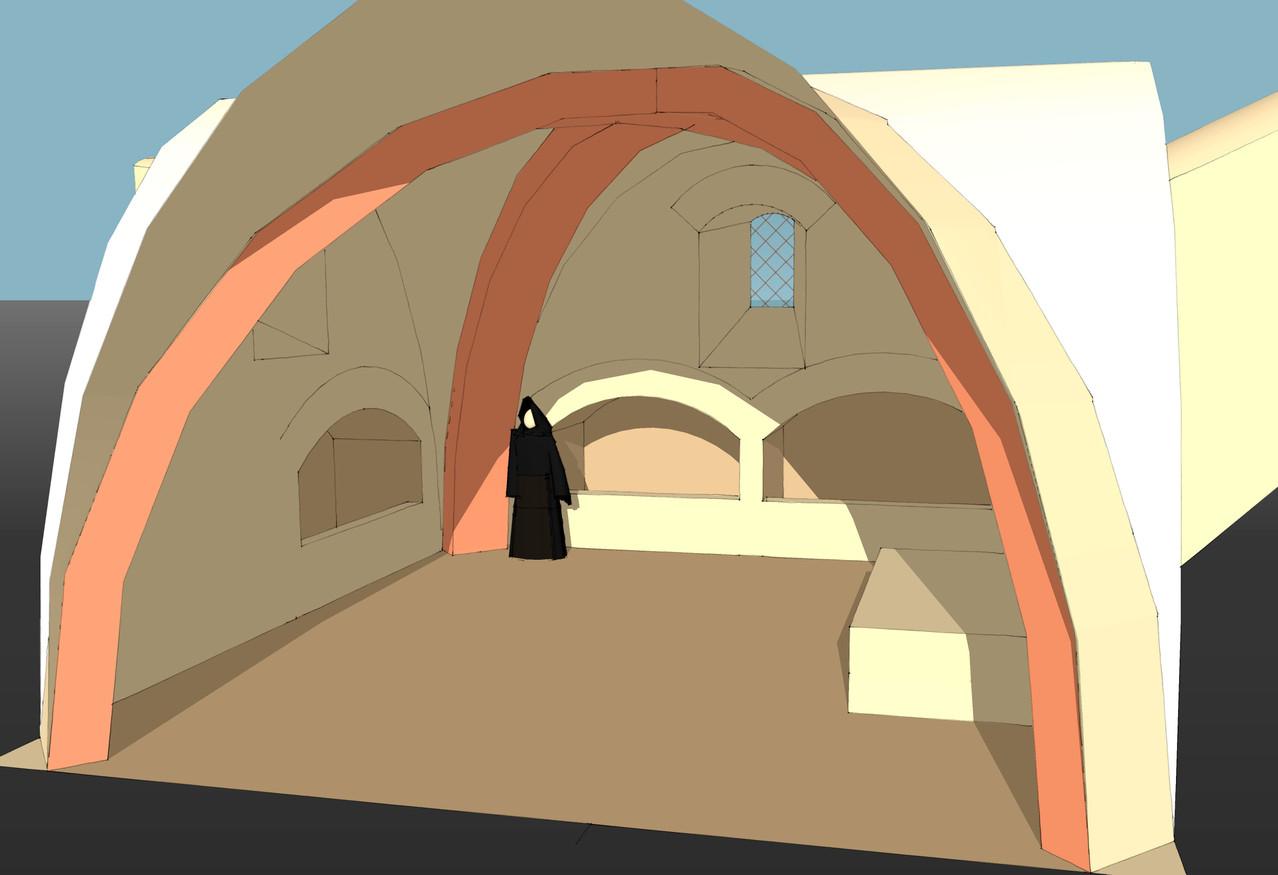 Intérieur de l'église, la crypte ossuaire