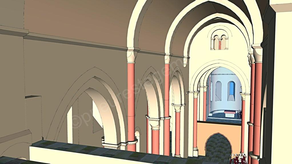 Intérieur de l'église, la nef vue de la tribune