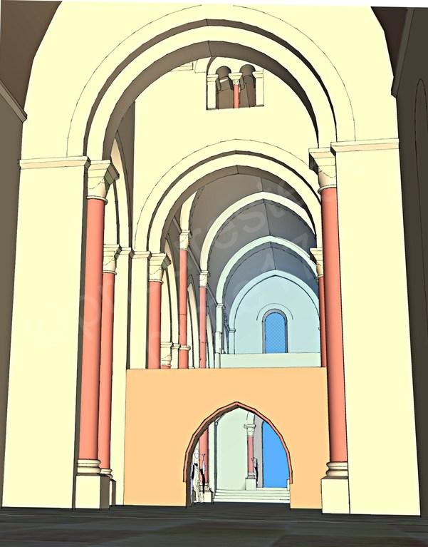 Intérieur de l'église, vue vers le transept, la nef, la tribune